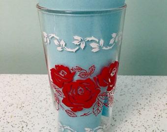 Vintage Red Roses Juice Glass