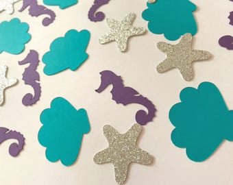 Under The Sea Confetti, Mermaid Confetti, Seahorse Shell Starfish Confetti