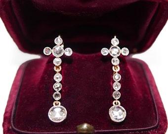 Rose Cut Diamond Drop Earrings - Vintage 1920's | Antique Diamond Earrings | Dangle Diamond Earrings || 16507