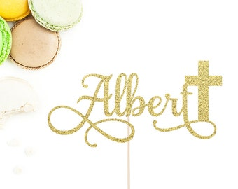 Personalized Name and Cross Cake Topper | Baptism Cake Topper | God Bless Cake Topper | Confirmation Cake Topper | Christening Cake Topper