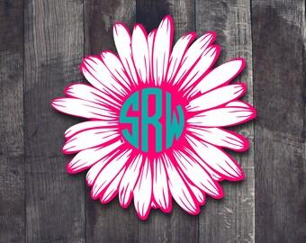 Monogram Daisy Decal| Monogram Decal| Daisy Flower Decal| Daisy Car Window Decal| Monogram Car Window Decal| Vinyl Decal| Monogram Tumbler