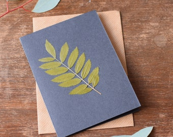 Handmade Original Greeting Card with Pressed Leaf