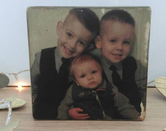 Personalised photo block, wooden photo block, rustic block, keepsake, rustic home decor, personalised decor, freestanding block, distressed