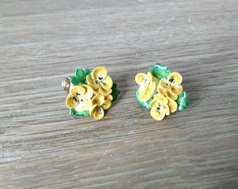 Vintage Earrings Clip On Floral Yellow Porcelain Bone China Boxed 1960's Yellow Pansy Earring