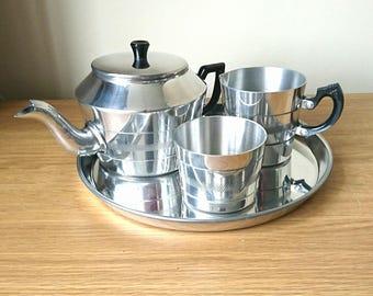 Vintage Tea Set Tea Pot, Milk Jug, Sugar BowlService Chrome Colour Aliminium Light Metal Silver , Cromalin.