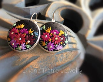Elegant floral Filigree Dangle earrings,embroidery clay jewelry, stainless steel posts, statment jewlery, filigree earrings,