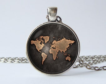 World map necklace Globe necklace Earth Map jewelry World map pendant Travel pendant Travel gift World globe jewellery Old map necklace