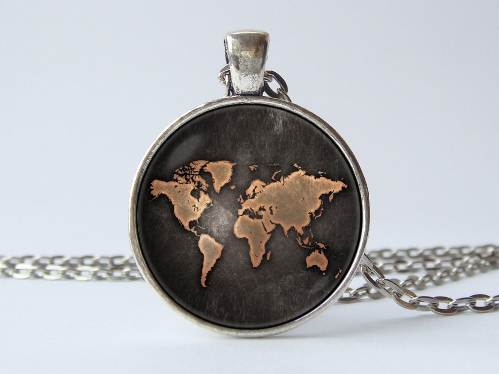 World map necklace Globe necklace Earth Map jewelry World map