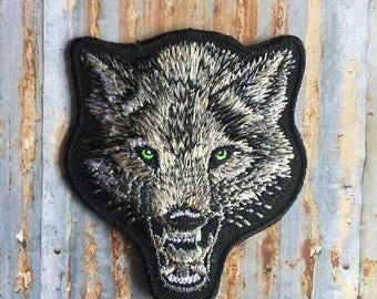 Silver Wolf Twilight wild Animal Iron On Sew On Patch Transfer