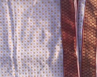 Sari Fabric White Red Polka Dot