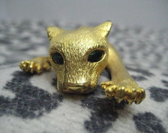 Panther Pin Brooch with Green Eyes and Articulated Tail