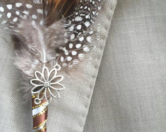 Feather boutonniere,  Steampunk inspired boutonniere, Vintage boutonniere