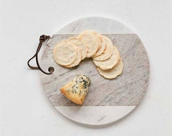 White + Grey Marble Wood Cheese Board