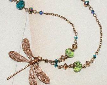 """Dragonfly Pendant Necklace Crystal Art Nouveau Vintage 35"""""""