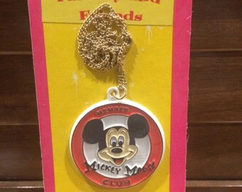 Vintage Walt Disney Mickey Mouse Member Club Fantasyland Friends Necklace 1970's