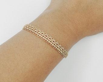 14K Solid Gold Thick Chain Bracelet Layering Bracelet
