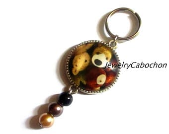 Keychain, cat rabbit, pearl pink black beige, cabochon, jewelry bag