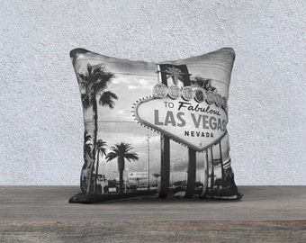Pillow Cover Case Black and White Welcome to Fabulous Las Vegas Sign Photography printed Square Pillow Case