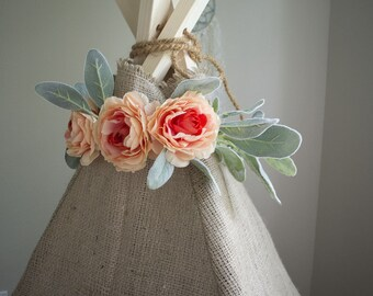 Teepee Topper - Flower Teepee Crown - Coral pink peony - Adjustable - Shabby Chic Bohemian Gypsy - Photography Prop