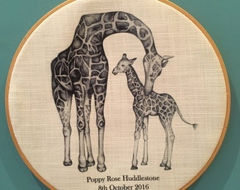 Personalised Gift - New Baby Nursery Giraffe Wooden Hoop