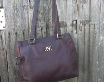 Vintage leather aigner oxblood bag