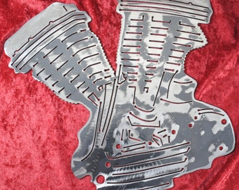 Pan Head Engine, Pushrod V-twin, Two-Cylinder, Rocker Covers, Motorcycle Engine, Metal Motorcycle Engine, Motorcycle Shop Decor, Man Cave