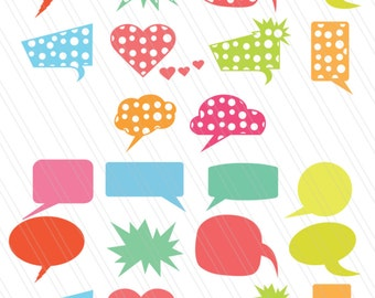 Speech bubble svg cut files,DXF, Speech bubble clipart,vector, balloon bubbles ,Dialogue bubble, thought bubble, digital cutting files
