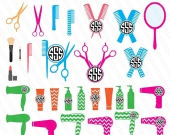 30 Salon hair dresser SVG cutting files, DXF, Hair stylist svg, Salon svg, beauty salon svg,Hair dresser monograms- digital cut files