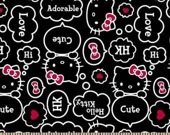 "Hello Kitty Fabric -Hello Kitty Thought bubbles allover Black 100% cotton fabric 44"" wide, SC62"