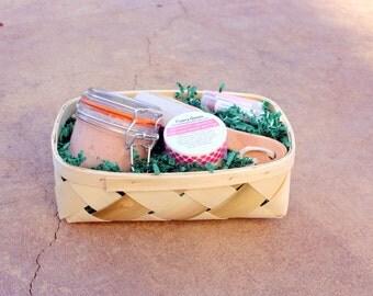 Pink Himalayan Salt Scrub + Geranium Grapefruit Body Butter - Spa Day Gift Basket, Spa Gift Set, Gift for Her