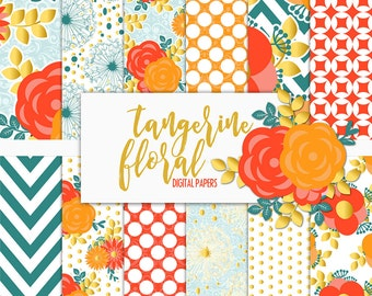 Tangerine Floral Digital Paper Pack | Scrapbook Paper | Printable Background | 12 JPG, 300dpi files.