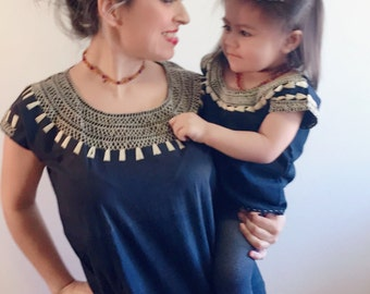 Mommy and me outfit Hand Embroidered blouses (blue Navy and Mustard Yellow)