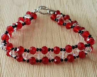 Red and black womens bracelet with swarovski crystals and black accent beads