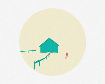 "House in the Mountains - 12"" x 12"" Simple Minimalistic Canvas Print - Good Birthday Present"