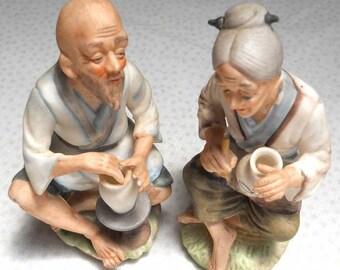 Japanese Pottery Couple Japan Vintage