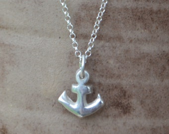 Handmade fine silver anchor necklace, nautical pendant, anchor necklace, silver anchor, mothers day