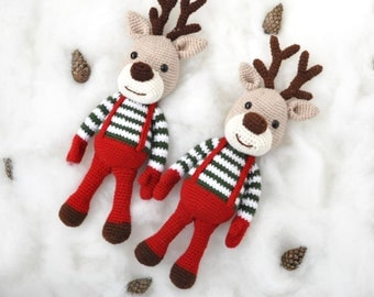 Crochet Christmas reindeer, Christmas gift present for girl or boy, plush for kids , stuffed animal , toy for todlers, amigurumi reindeer,