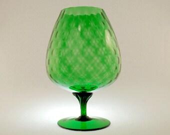 Hand Blown Italian Art Glass Mid Century Modern Green Diamond Quilted Optic Snifter Vase, Vintage MCM Eames Era Empoli Baloon Vase
