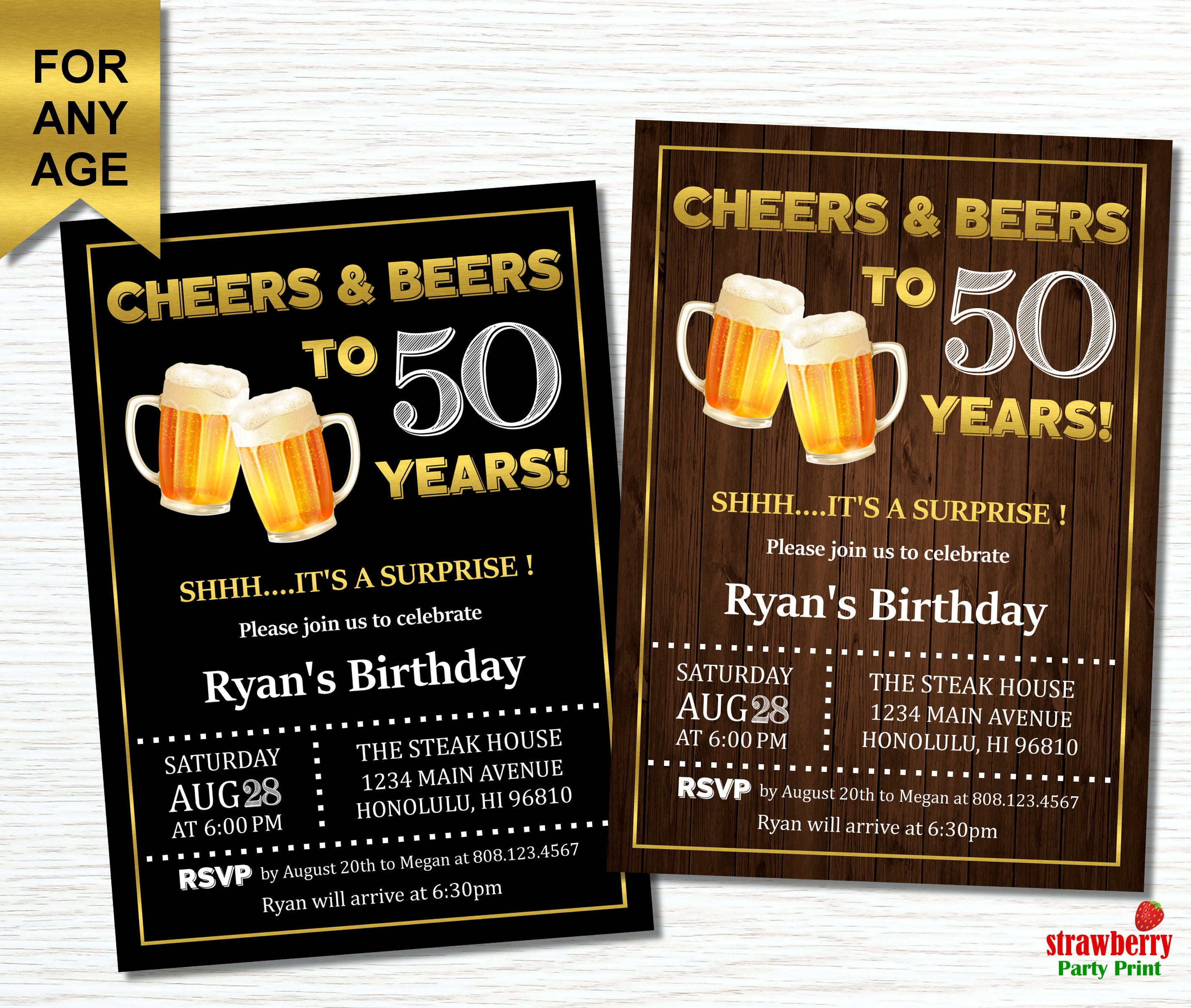 th Birthday Invitation for Men Cheers and Beers to