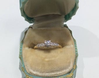 Vintage 14k two tone engagement ring