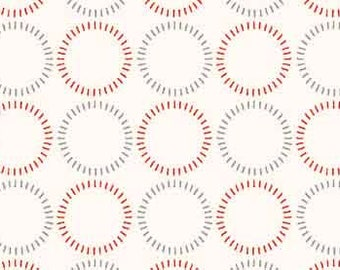 "By the HALF YARD -Modern Stitching by Anna Fishkin for Red Rooster, Pattern  #25411-WHI1 Blue and Red Dashed 7/8"" Circles on White"