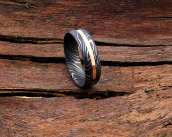 Stainless Damascus Steel Rose Gold Inlaid Unique Wedding Ring Hand Made in Scotland,UK