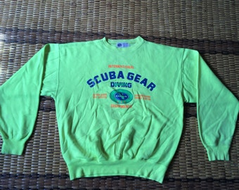 Vintage 90's Scuba Gear Diving Sport Classic Design Skate Sweat Shirt Sweater Varsity Jacket Size L #A599