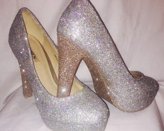 Silver Wedding / Prom Glitter Heels / shoes* *  * SIZES 3-8