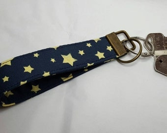 Navy blue with stars key fob/ key chain/ wristlet/ key strap