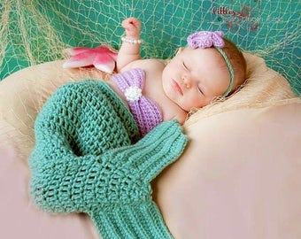 Mermaid Photo Prop, Newborn photo prop, 0-12 month mermaid outfit, Crocheted Mermaid Tail, Newborn Mermaid Outfit, Baby Girl Photo Prop