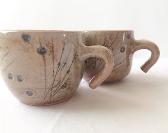 Mother's Day Gift | Natural Grasses/Insect Inspired Mug Set | Matching Ceramic Mugs | Handmade Ceramics and Pottery | Brown Teacups