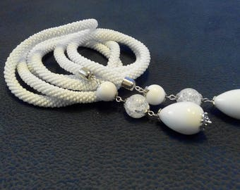 White Lariat with natural stones