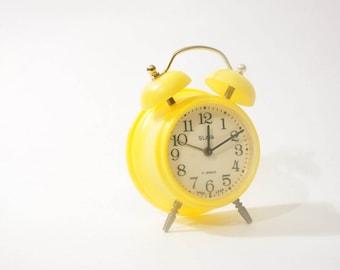 Vintage Russian Slava Alarm Clock Double Bell 11 Jewels USSR