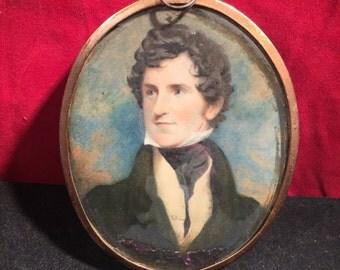 "Signed & Framed Antique Portrait Miniature (""John Austin, died 1854"")"